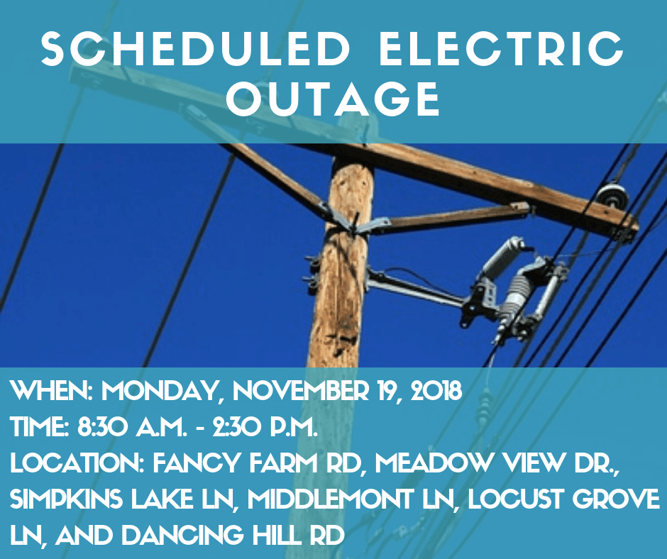 Scheduled Electric Outage- Monday, November 19th