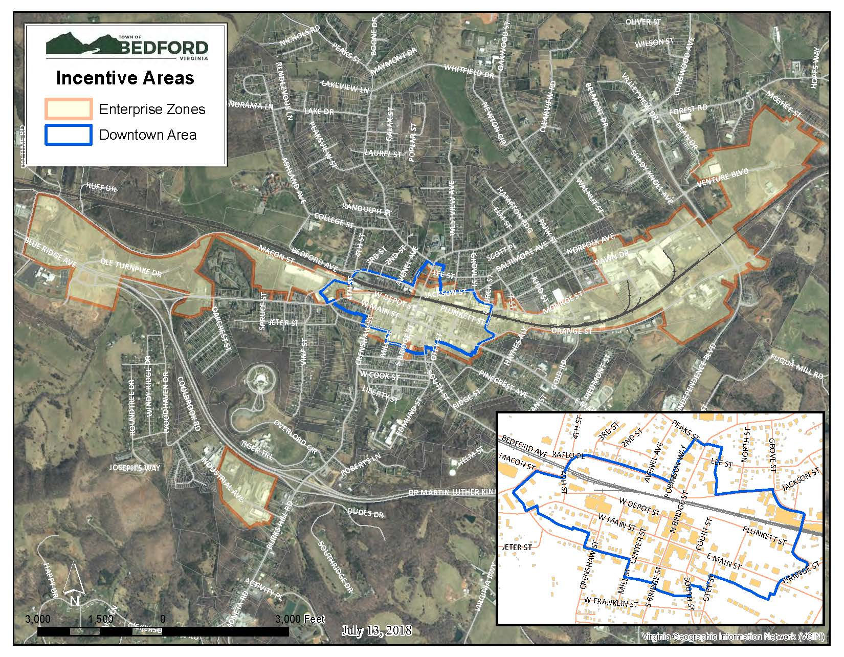 Town Enterprise Zones and Downtown Map