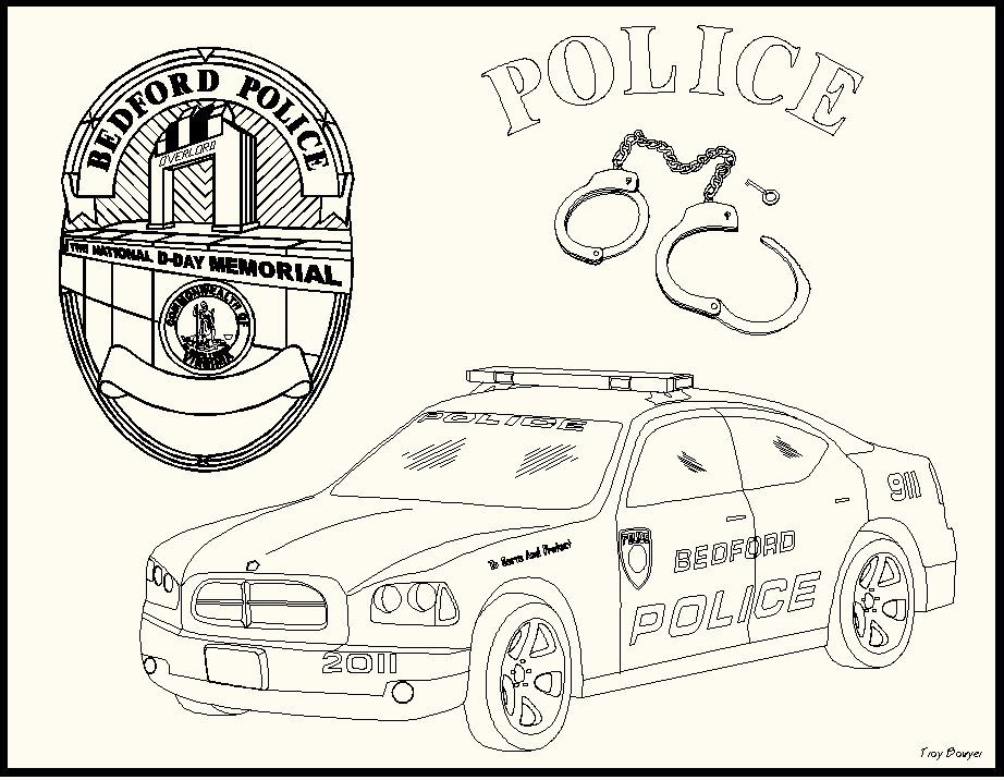 Coloring Page - Collage of Badge, Handcuffs, and Car