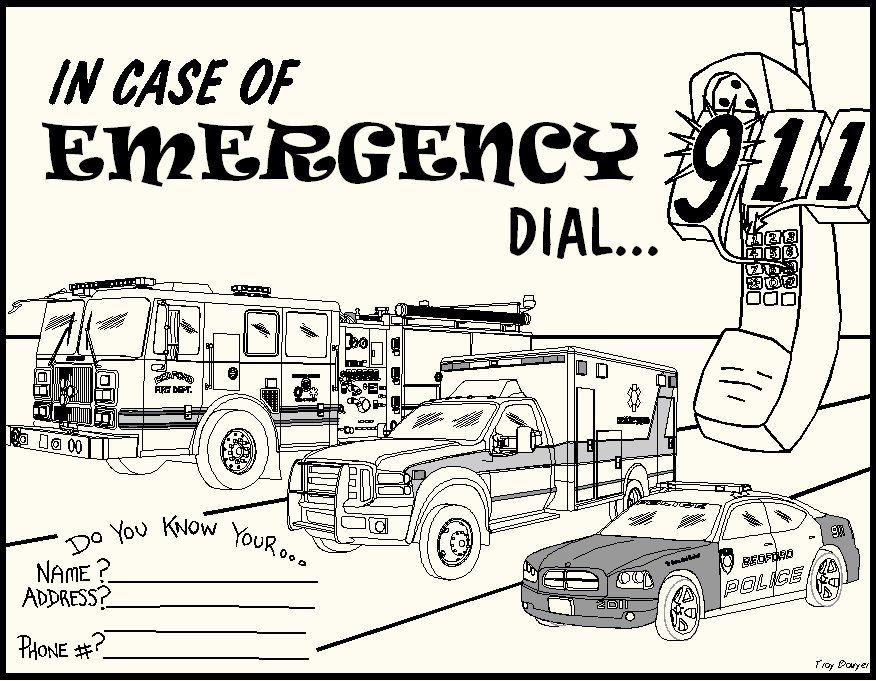 Coloring Page - In Case of Emergency Dial 911