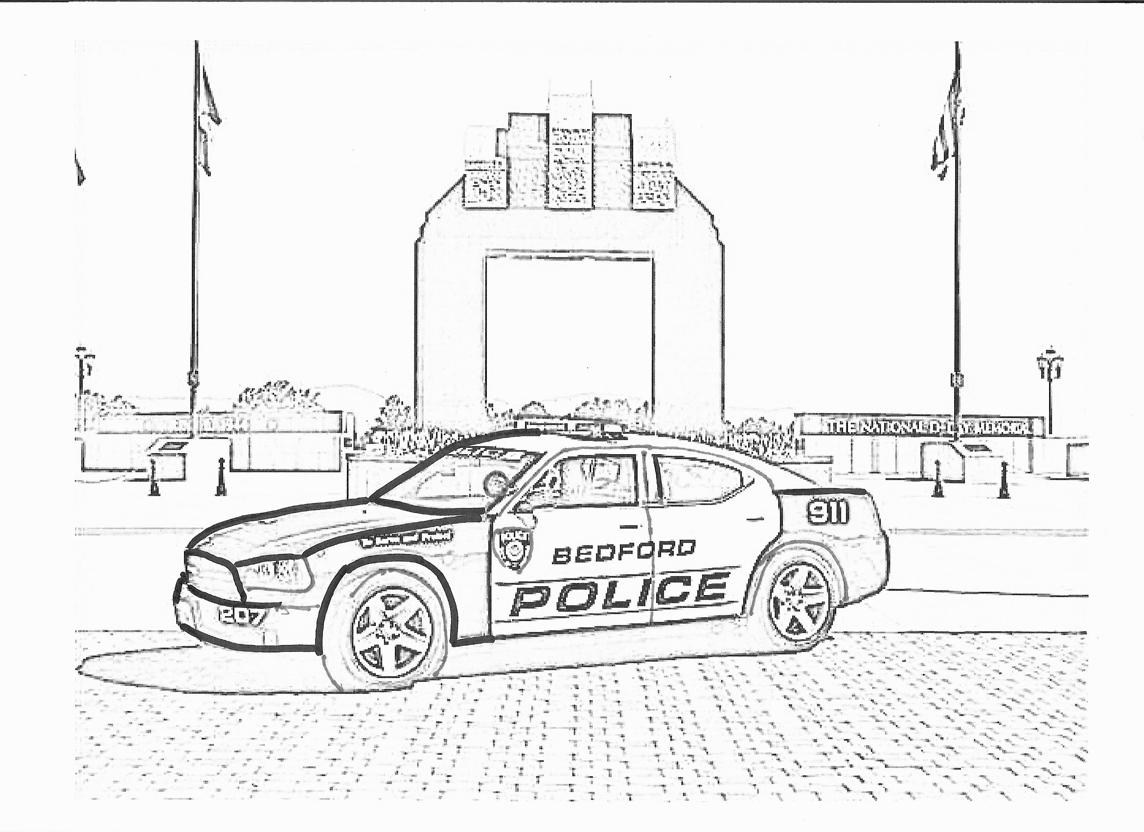 Coloring Page - Bedford Police Car