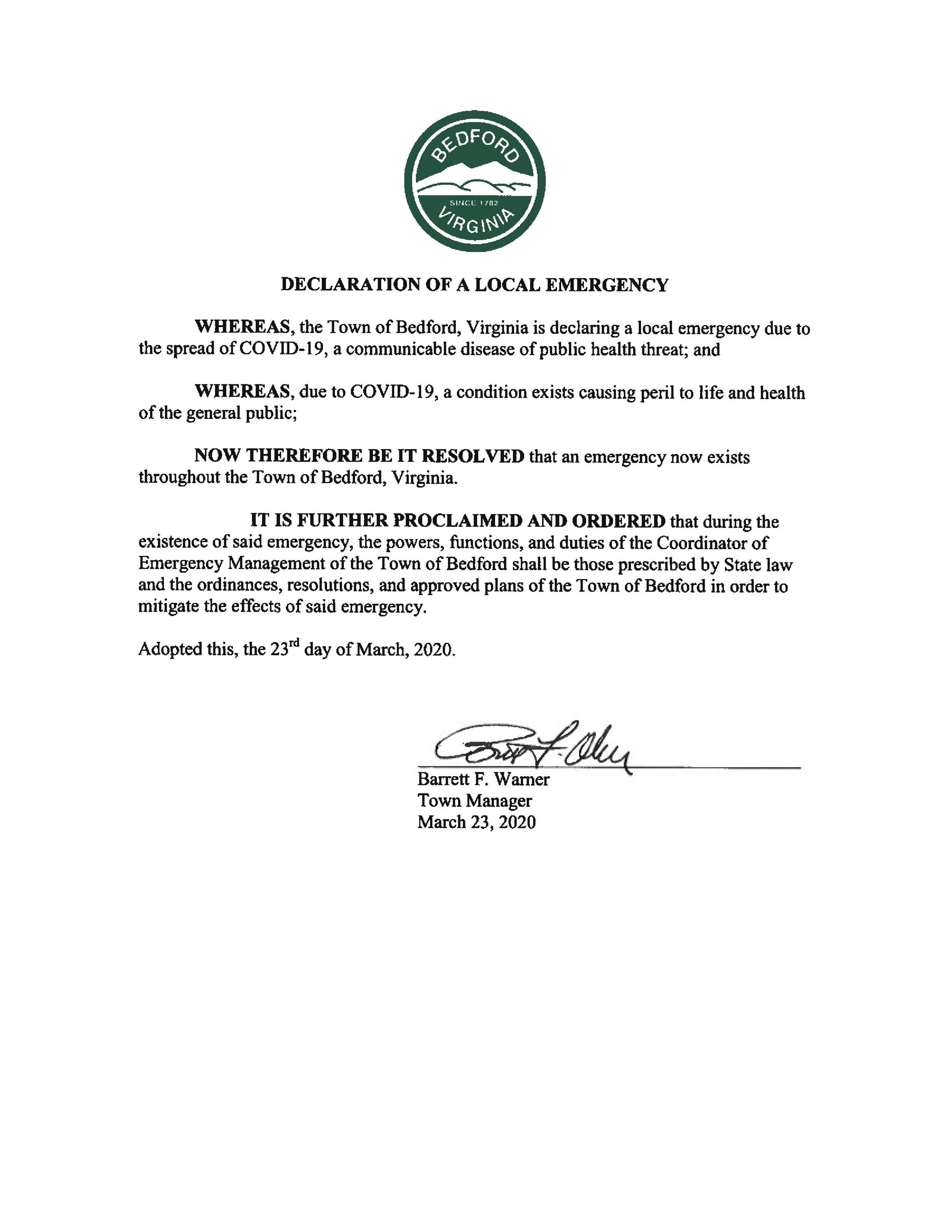 Local Emergency Declaration 032320
