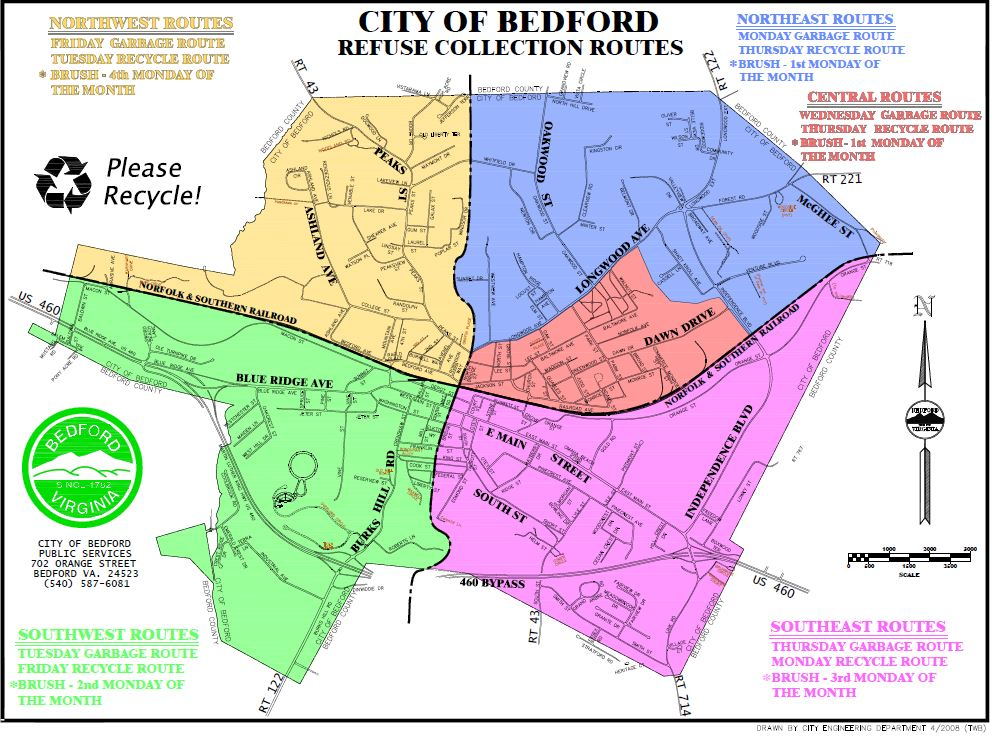 Bedford Refuse Collection Routes - Sectors